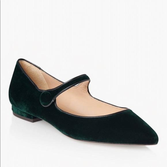 Lk Bennett Mary Jane Flats Green Velvet